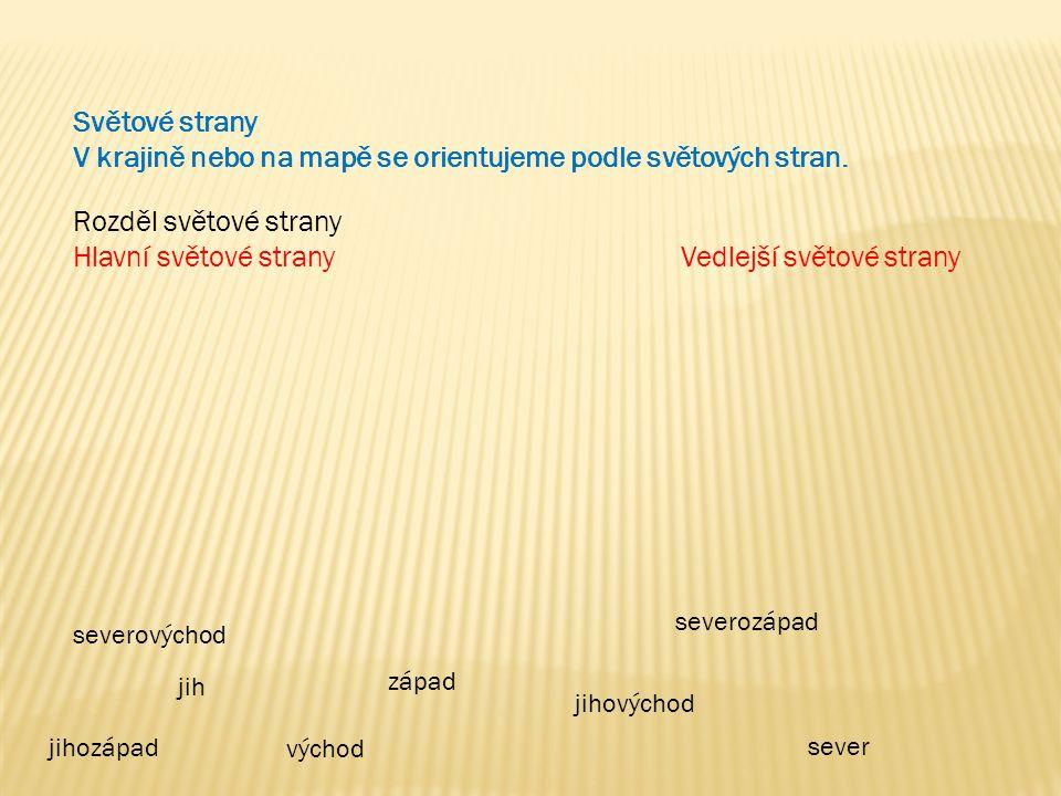 Směrová růžice Doplň hlavní a vedlejší světové strany / zkratky/ S V J Z SV JV SZ JZ