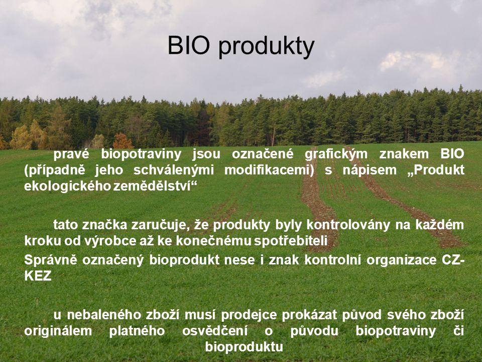 """BIO produkty pravé biopotraviny jsou označené grafickým znakem BIO (případně jeho schválenými modifikacemi) s nápisem """"Produkt ekologického zemědělstv"""