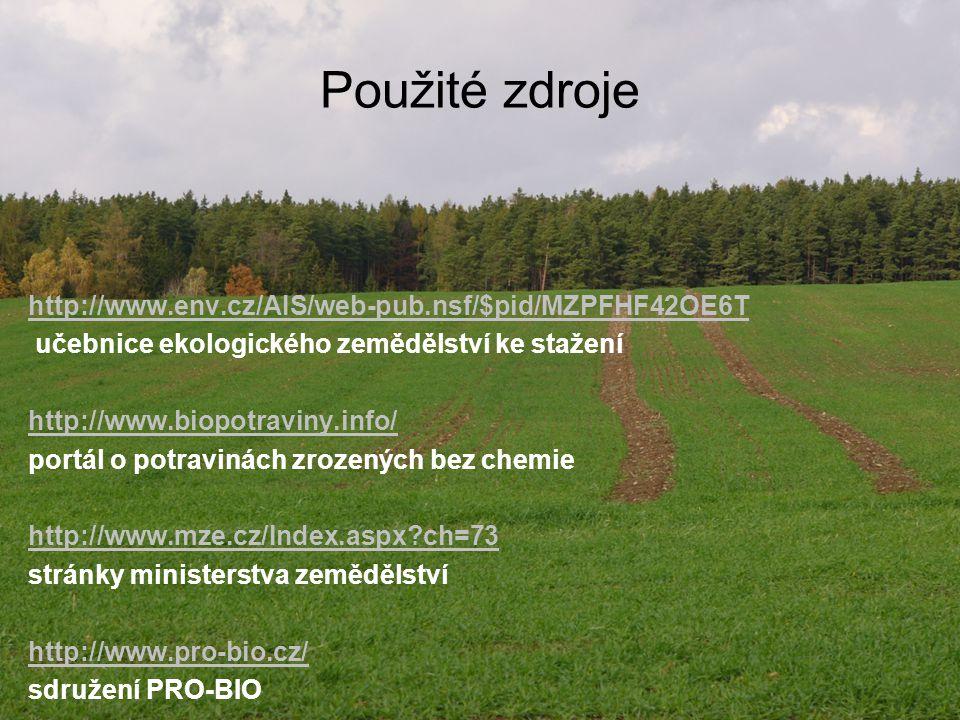 Použité zdroje http://www.env.cz/AIS/web-pub.nsf/$pid/MZPFHF42OE6T učebnice ekologického zemědělství ke stažení http://www.biopotraviny.info/ portál o
