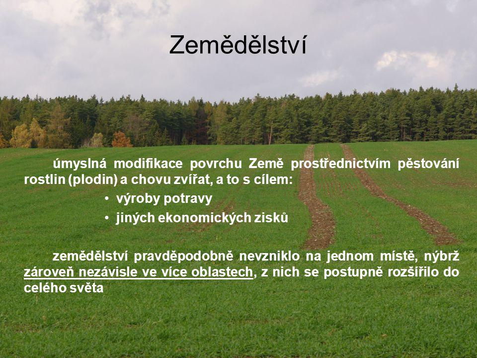 Zemědělství úmyslná modifikace povrchu Země prostřednictvím pěstování rostlin (plodin) a chovu zvířat, a to s cílem: výroby potravy jiných ekonomickýc
