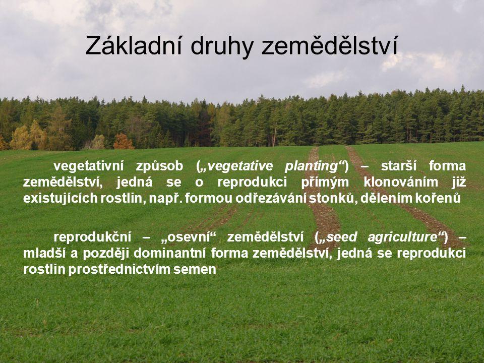 Intenzivní zemědělství je založené na dokonalejší technice, lepší organizaci výroby zvyšující produktivitu práce a dosahující maximální výnosy vyžaduje velké vstupy kapitálu existuje v oblastech, ve kterých jsou přírodní podmínky pro zemědělství příznivé má vysoké výnosy rozvíjí se blízko populací velkých měst (kvůli rychlé a levné dopravě, aby se zemědělské výrobky nezkazily) spotřeba dusíku >20 kg/ha