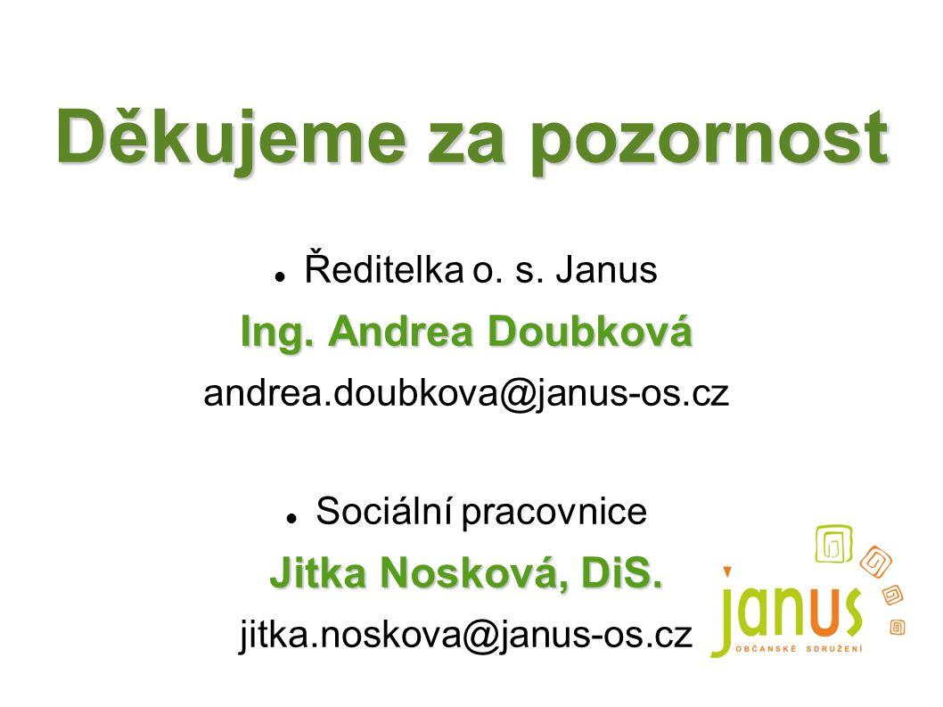 Děkujeme za pozornost Ředitelka o. s. Janus Ing. Andrea Doubková andrea.doubkova@janus-os.cz Sociální pracovnice Jitka Nosková, DiS. jitka.noskova@jan