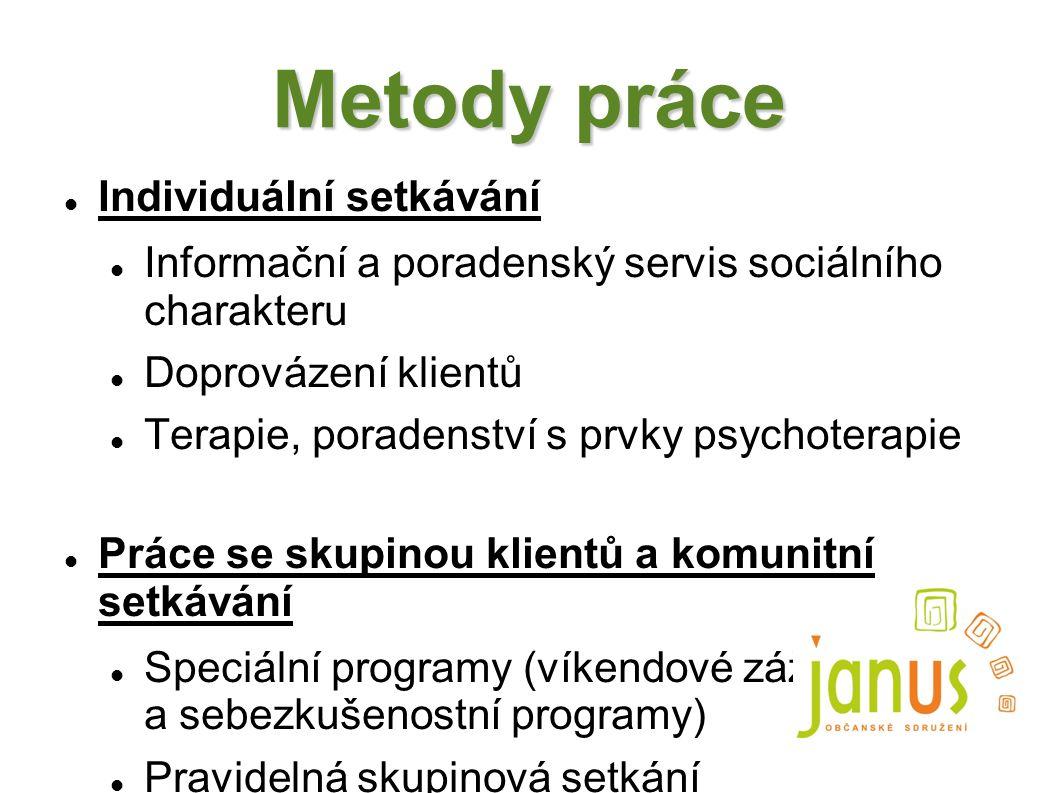 Metody práce Individuální setkávání Informační a poradenský servis sociálního charakteru Doprovázení klientů Terapie, poradenství s prvky psychoterapi