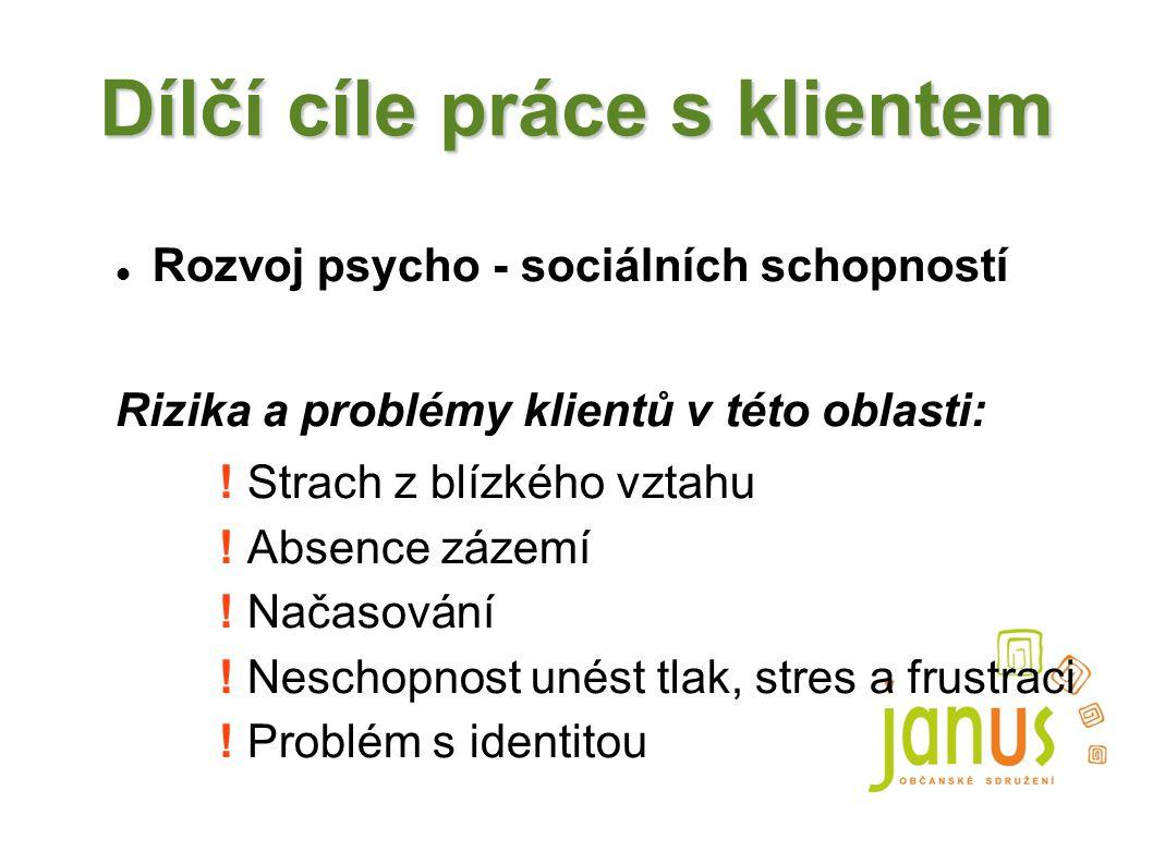 Dílčí cíle práce s klientem Rozvoj psycho - sociálních schopností Rizika a problémy klientů v této oblasti: ! Strach z blízkého vztahu ! Absence zázem