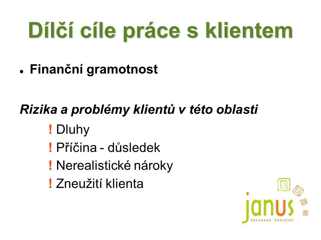 Dílčí cíle práce s klientem Finanční gramotnost Rizika a problémy klientů v této oblasti ! Dluhy ! Příčina - důsledek ! Nerealistické nároky ! Zneužit