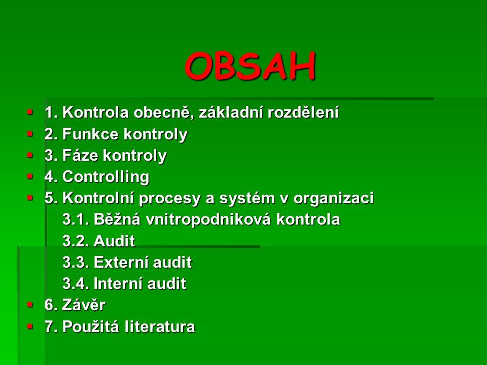 OBSAH  1.Kontrola obecně, základní rozdělení  2.