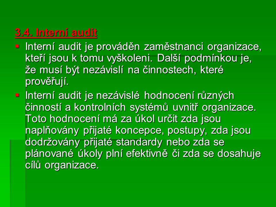 3.4.Interní audit  Interní audit je prováděn zaměstnanci organizace, kteří jsou k tomu vyškoleni.