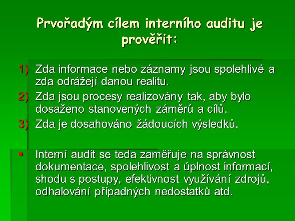 Prvořadým cílem interního auditu je prověřit: 1)Zda informace nebo záznamy jsou spolehlivé a zda odrážejí danou realitu.