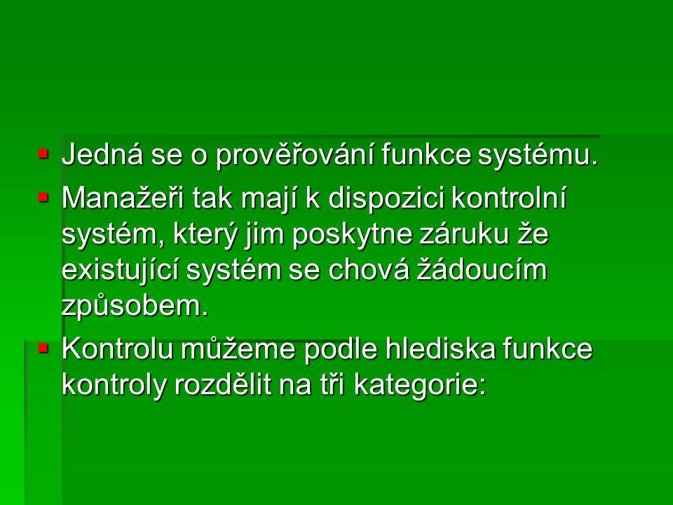  Jedná se o prověřování funkce systému.