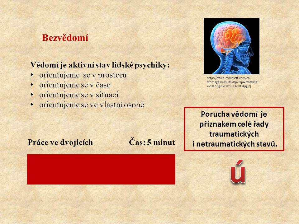 Bezvědomí Vědomí je aktivní stav lidské psychiky: orientujeme se v prostoru orientujeme se v čase orientujeme se v situaci orientujeme se ve vlastní osobě Porucha vědomí je příznakem celé řady traumatických i netraumatických stavů.