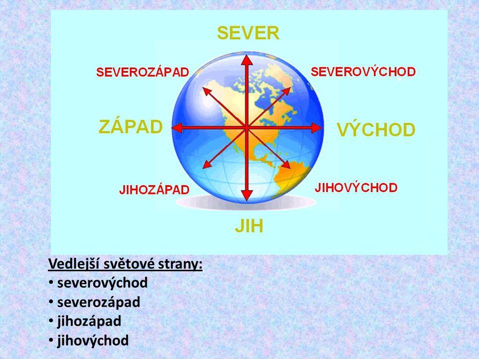 Vedlejší světové strany: severovýchod severozápad jihozápad jihovýchod