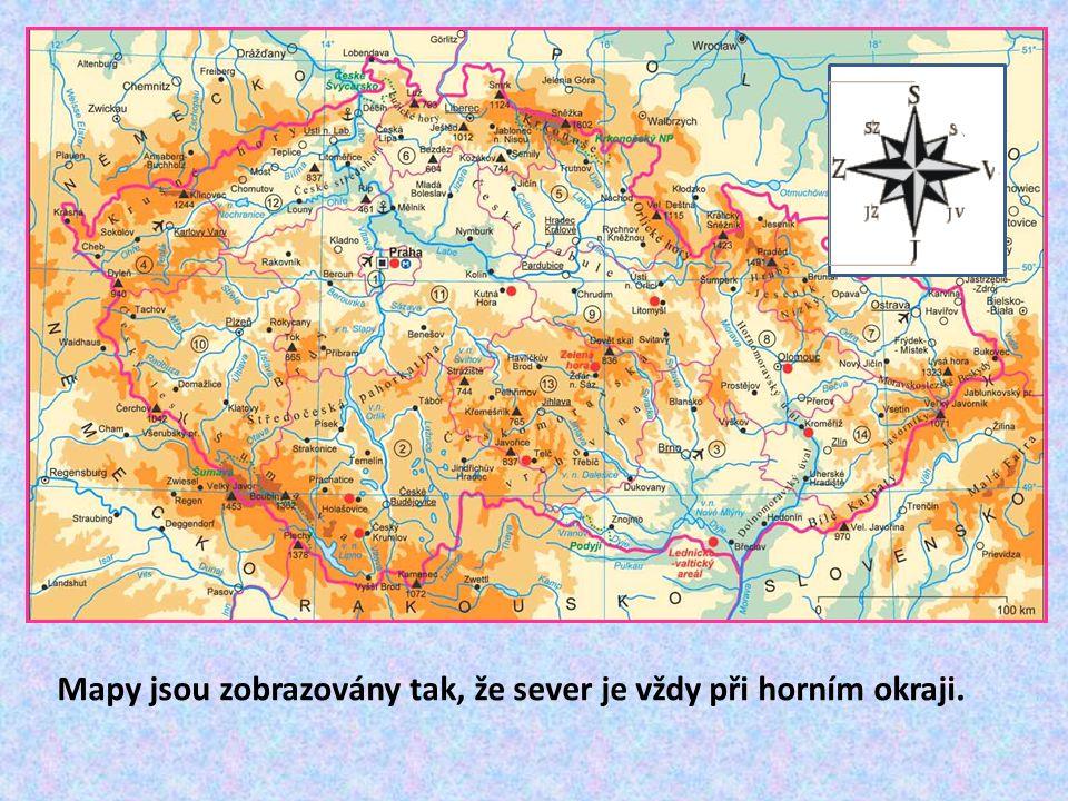 Mapy jsou zobrazovány tak, že sever je vždy při horním okraji.