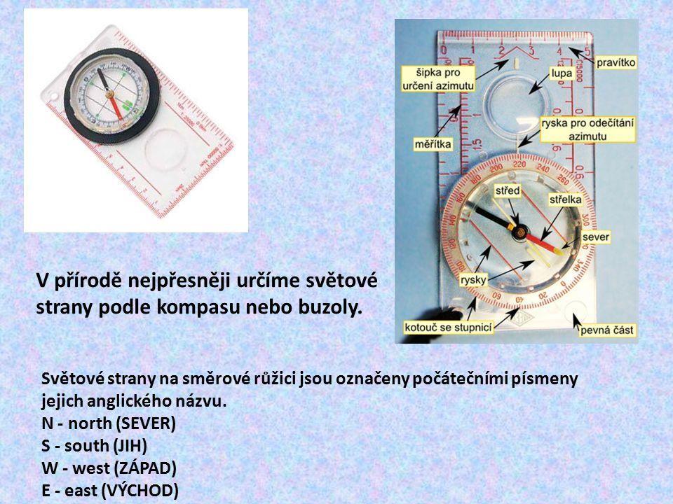 Světové strany na směrové růžici jsou označeny počátečními písmeny jejich anglického názvu. N - north (SEVER) S - south (JIH) W - west (ZÁPAD) E - eas