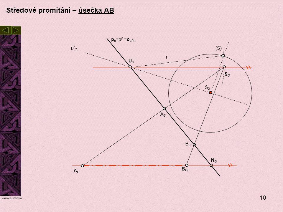 10 USUS NSNS (S) S2S2 SOSO ASAS BSBS p s =p  =o afin p´ 2 AOAO BOBO r Ivana Kuntová Středové promítání – úsečka AB
