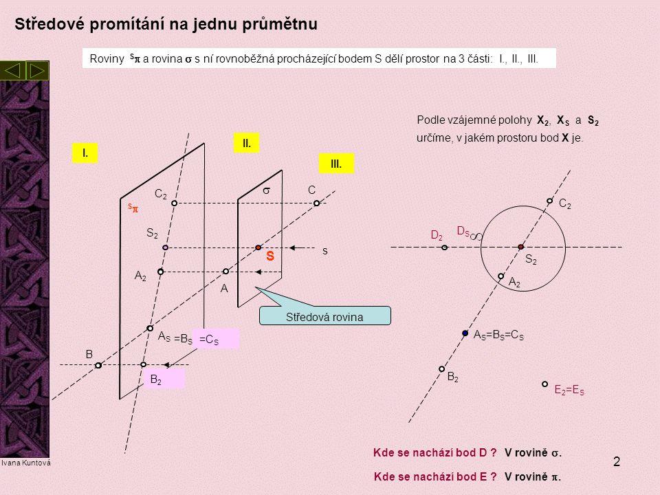 2 SS S A A2A2 ASAS S2S2 s  Roviny S  a rovina  s ní rovnoběžná procházející bodem S dělí prostor na 3 části: I., II., III. I. II. III. B C C2C2 =