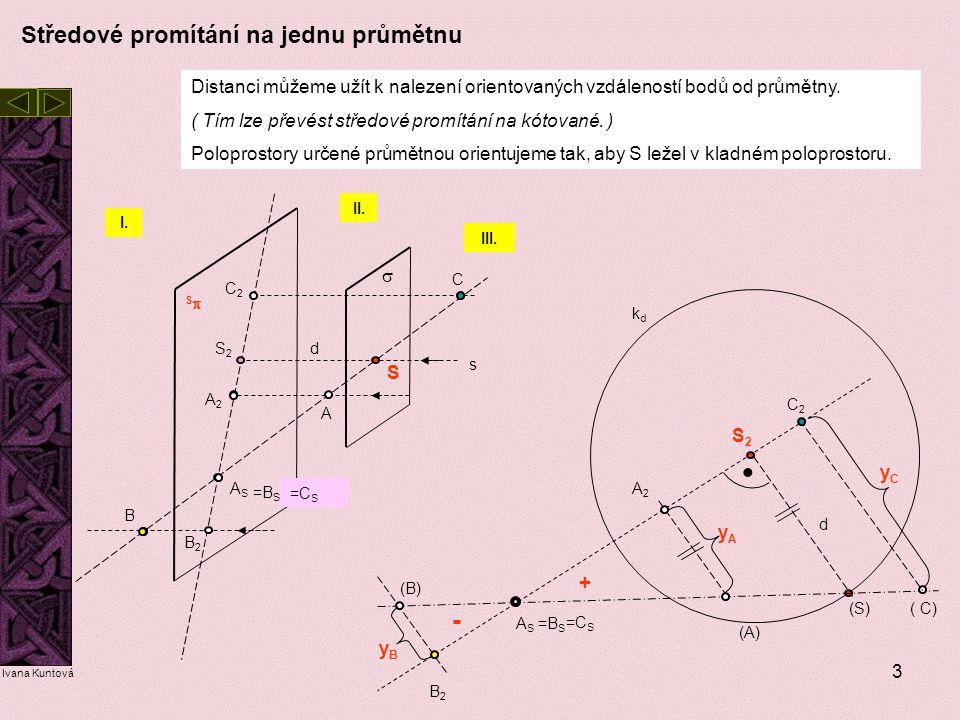 3 SS S A A2A2 ASAS S2S2 s  Distanci můžeme užít k nalezení orientovaných vzdáleností bodů od průmětny. ( Tím lze převést středové promítání na kóto