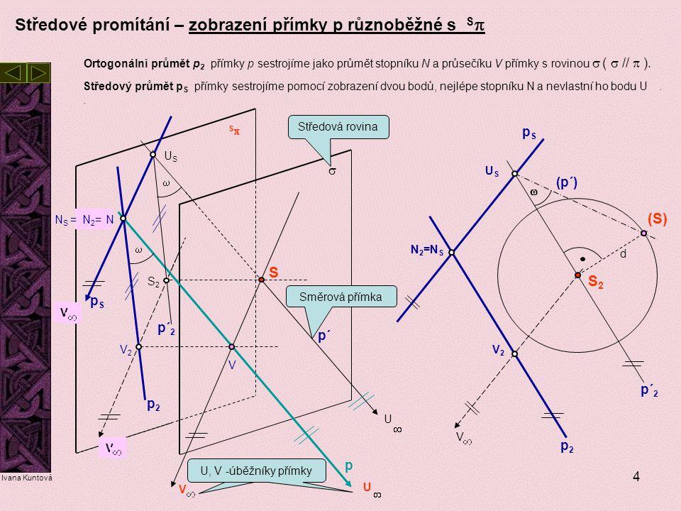 4 Středové promítání – zobrazení přímky p různoběžné s S  Středový průmět p S přímky sestrojíme pomocí zobrazení dvou bodů, nejlépe stopníku N a nevl