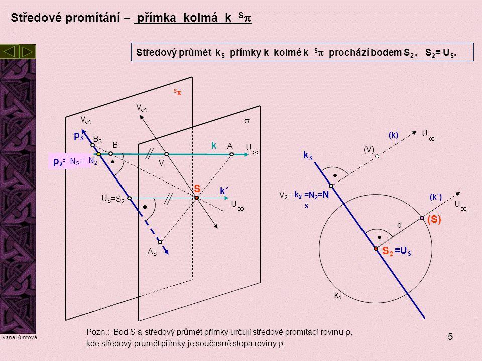 5 Středové promítání – přímka kolmá k S  Středový průmět k S přímky k kolmé k S  prochází bodem S 2, S 2 = U S. SS S S2S2  k p2=p2= pSpS N S = kS