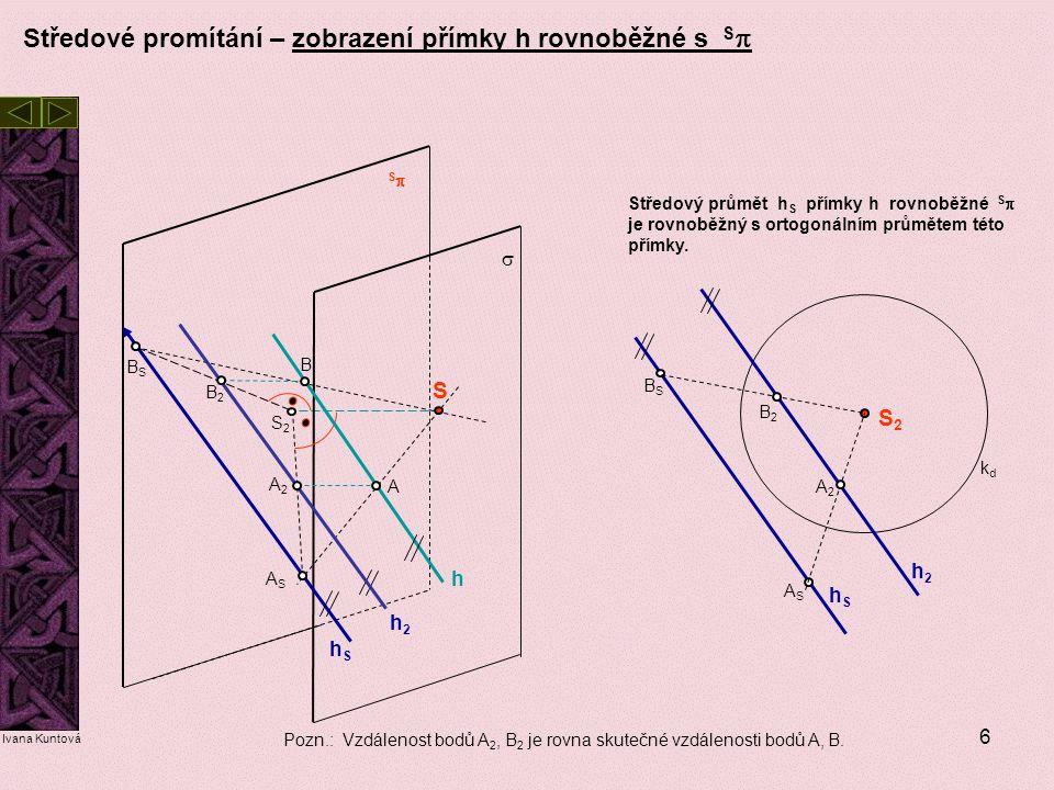6 Středové promítání – zobrazení přímky h rovnoběžné s S  Středový průmět h S přímky h rovnoběžné S  je rovnoběžný s ortogonálním průmětem této přím