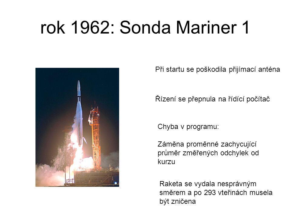 rok 1962: Sonda Mariner 1 Chyba v programu: Záměna proměnné zachycující průměr změřených odchylek od kurzu Raketa se vydala nesprávným směrem a po 293 vteřinách musela být zničena Při startu se poškodila přijímací anténa Řízení se přepnula na řídící počítač