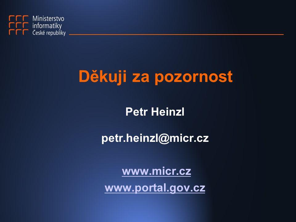 Děkuji za pozornost Petr Heinzl petr.heinzl@micr.cz www.micr.cz www.portal.gov.cz