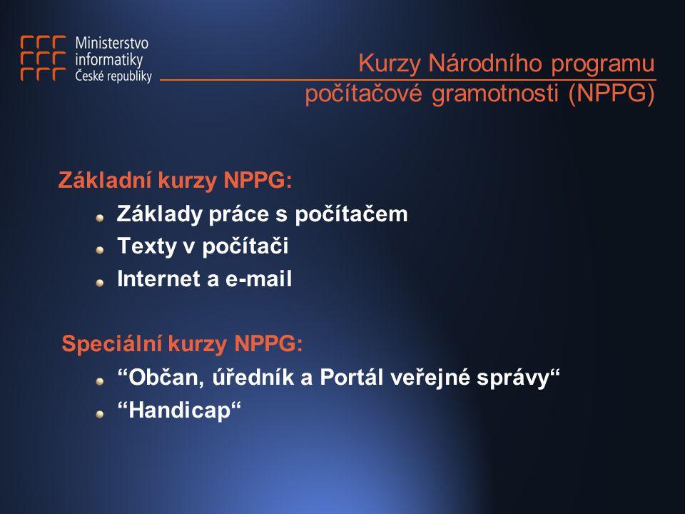 Kurzy Národního programu počítačové gramotnosti (NPPG) Základní kurzy NPPG: Základy práce s počítačem Texty v počítači Internet a e-mail Speciální kurzy NPPG: Občan, úředník a Portál veřejné správy Handicap