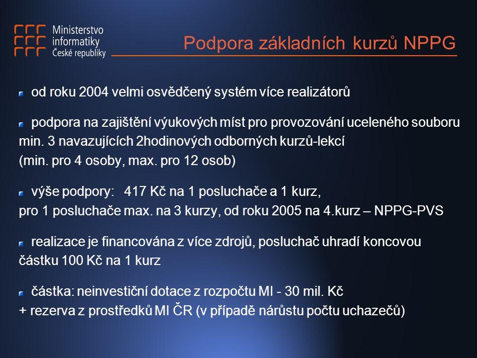 Podpora základních kurzů NPPG od roku 2004 velmi osvědčený systém více realizátorů podpora na zajištění výukových míst pro provozování uceleného souboru min.