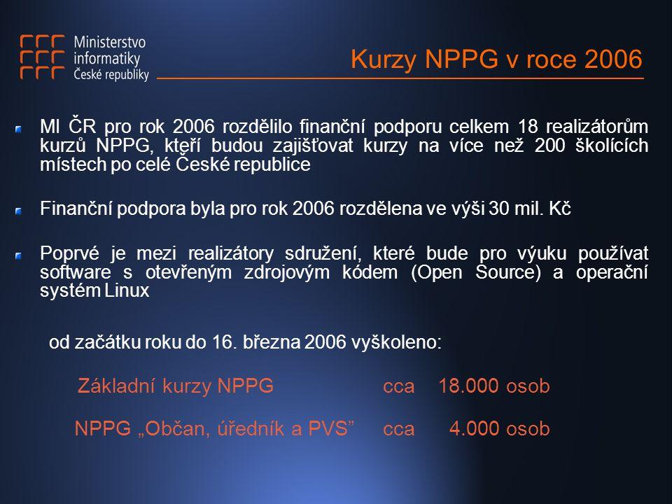 Kurzy NPPG v roce 2006 MI ČR pro rok 2006 rozdělilo finanční podporu celkem 18 realizátorům kurzů NPPG, kteří budou zajišťovat kurzy na více než 200 školících místech po celé České republice Finanční podpora byla pro rok 2006 rozdělena ve výši 30 mil.