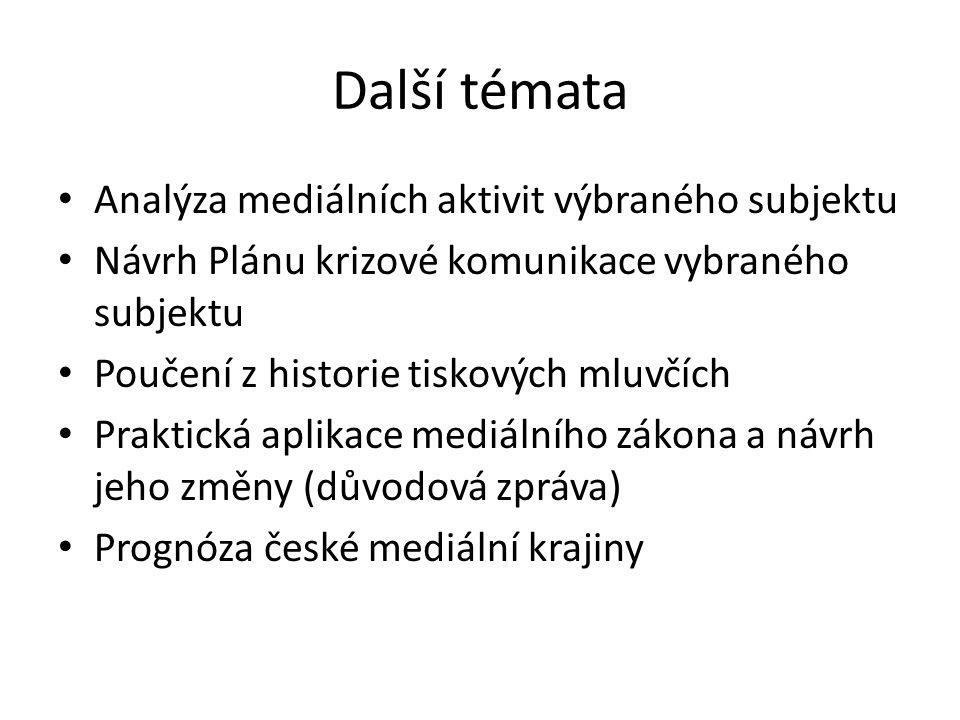 Další témata Analýza mediálních aktivit výbraného subjektu Návrh Plánu krizové komunikace vybraného subjektu Poučení z historie tiskových mluvčích Pra