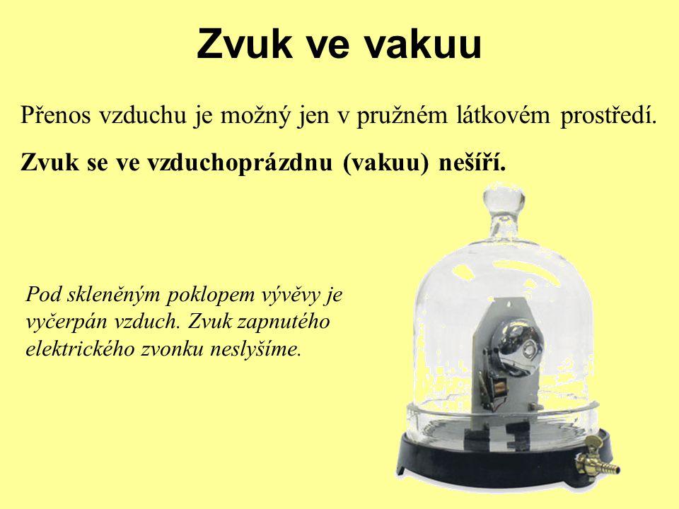 Zvuk ve vakuu Přenos vzduchu je možný jen v pružném látkovém prostředí. Zvuk se ve vzduchoprázdnu (vakuu) nešíří. Pod skleněným poklopem vývěvy je vyč