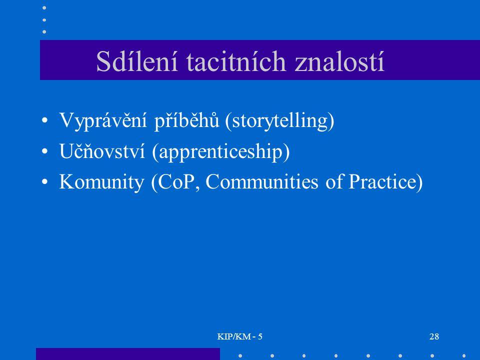KIP/KM - 528 Sdílení tacitních znalostí Vyprávění příběhů (storytelling) Učňovství (apprenticeship) Komunity (CoP, Communities of Practice)