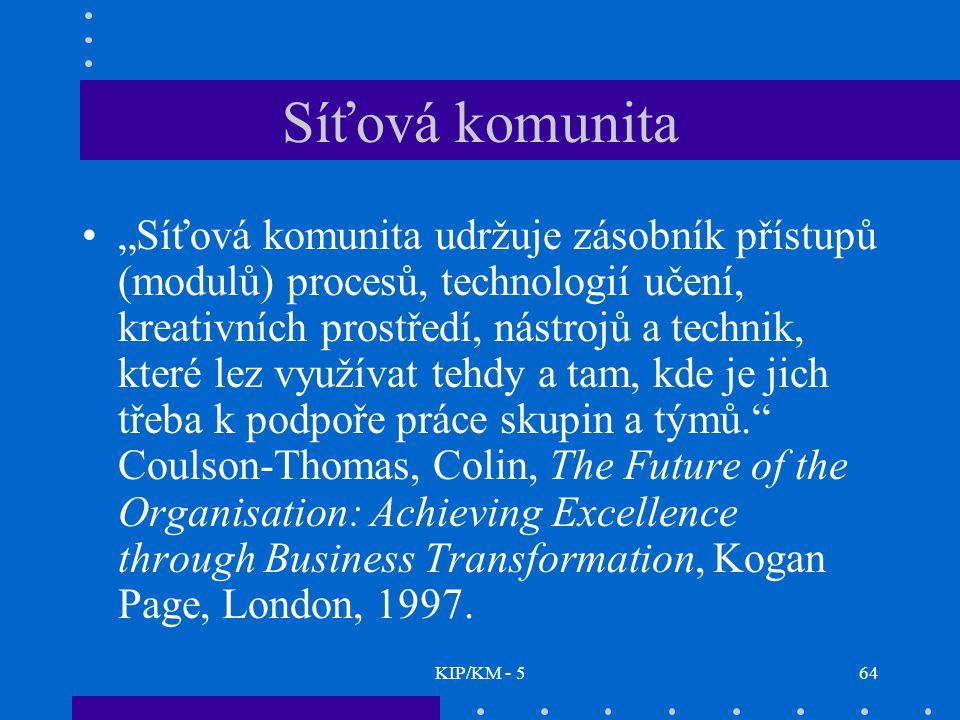 """KIP/KM - 564 Síťová komunita """"Síťová komunita udržuje zásobník přístupů (modulů) procesů, technologií učení, kreativních prostředí, nástrojů a technik, které lez využívat tehdy a tam, kde je jich třeba k podpoře práce skupin a týmů. Coulson-Thomas, Colin, The Future of the Organisation: Achieving Excellence through Business Transformation, Kogan Page, London, 1997."""