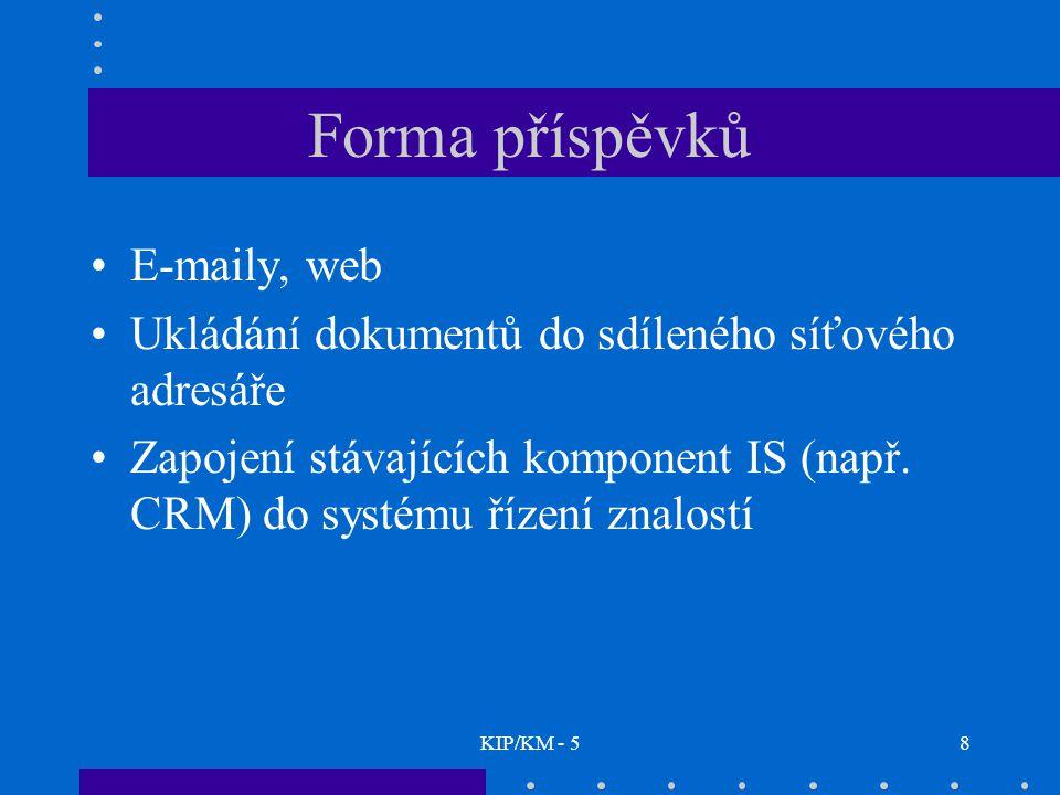 KIP/KM - 559 e-mailové konference veřejnost –veřejná - žádná omezující pravidla –neveřejná - přihlásit (a odhlásit) účastníka může pouze moderátor uzavřenost –otevřená - příspěvky můžeme posílat i tehdy, pokud nejsme členem –uzavřená - mohou přispívat pouze členové moderovanost –moderovaná – příspěvky dostane nejprve moderátor, který rozhodne, zda je pošle do konference, nebo je stornuje; jinak řečeno, přispívat může jenom moderátor –nemoderovaná –není žádný moderátor, tzn.