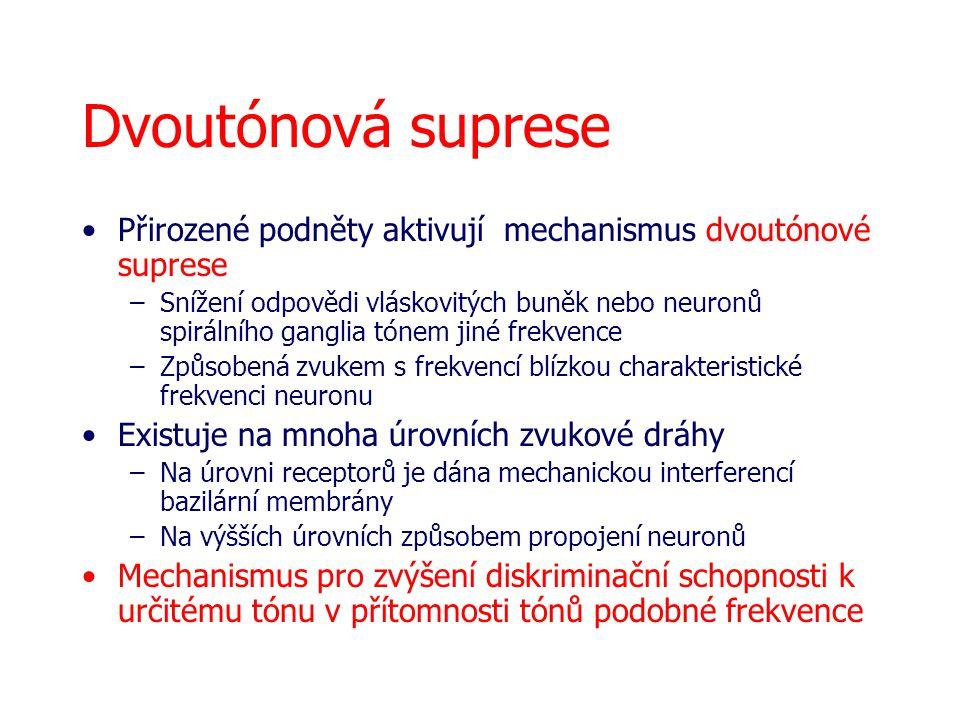 Dvoutónová suprese Přirozené podněty aktivují mechanismus dvoutónové suprese –Snížení odpovědi vláskovitých buněk nebo neuronů spirálního ganglia tóne
