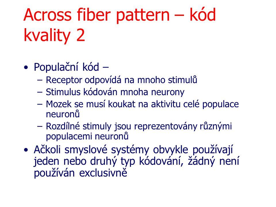 Across fiber pattern – kód kvality 2 Populační kód – –Receptor odpovídá na mnoho stimulů –Stimulus kódován mnoha neurony –Mozek se musí koukat na akti