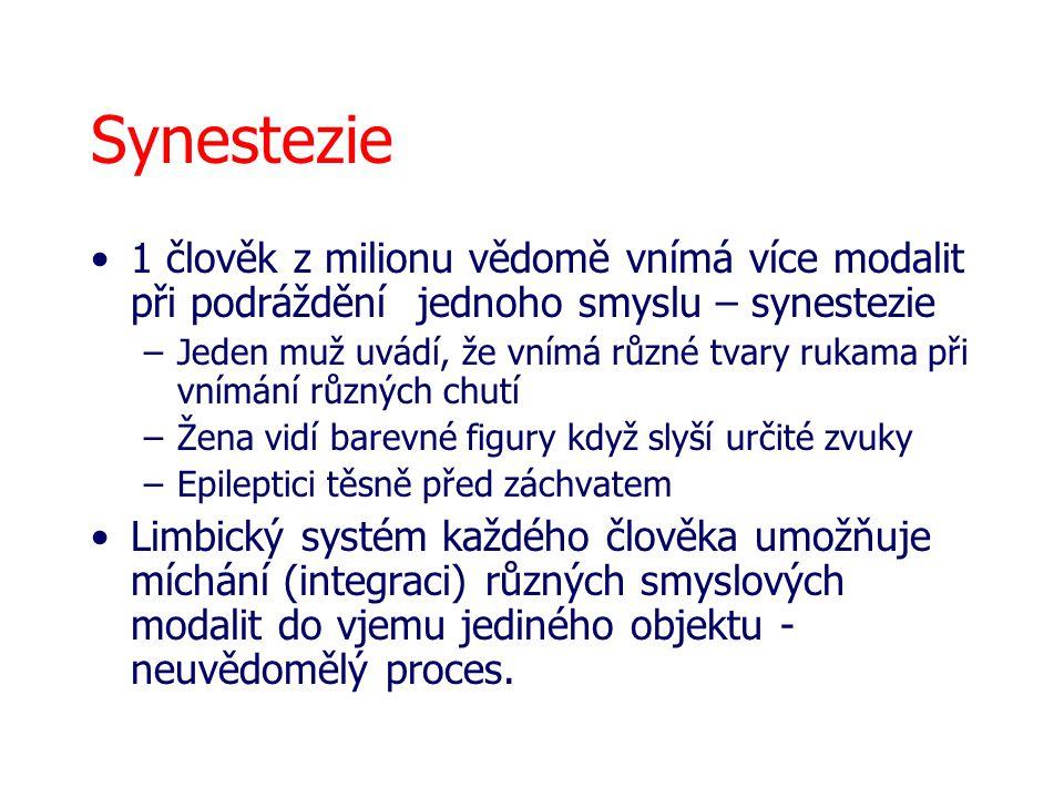 Synestezie 1 člověk z milionu vědomě vnímá více modalit při podráždění jednoho smyslu – synestezie –Jeden muž uvádí, že vnímá různé tvary rukama při v