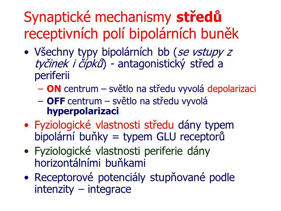 Synaptické mechanismy středů receptivních polí bipolárních buněk Všechny typy bipolárních bb (se vstupy z tyčinek i čípků) - antagonistický střed a pe