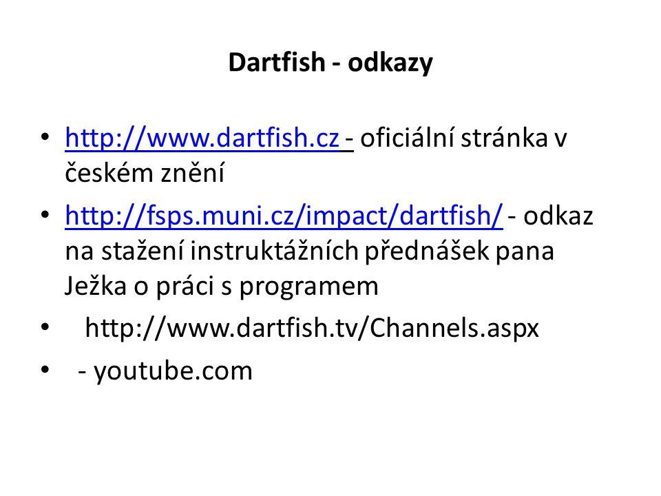 Dartfish - odkazy http://www.dartfish.cz - oficiální stránka v českém znění http://www.dartfish.cz http://fsps.muni.cz/impact/dartfish/ - odkaz na stažení instruktážních přednášek pana Ježka o práci s programem http://fsps.muni.cz/impact/dartfish/ http://www.dartfish.tv/Channels.aspx - youtube.com