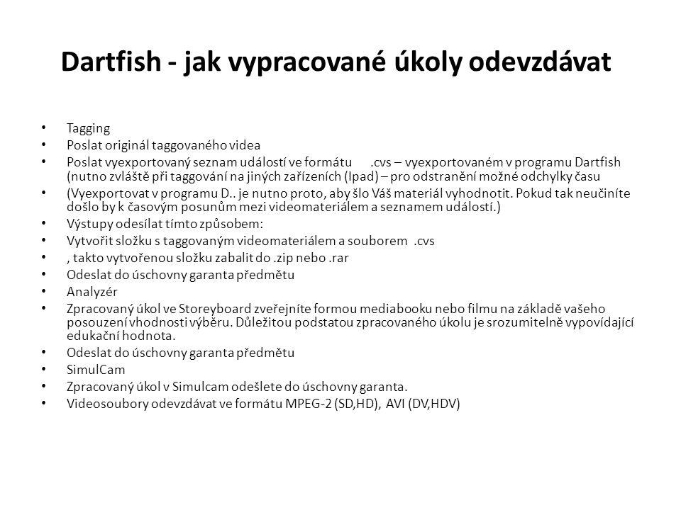 Dartfish - jak vypracované úkoly odevzdávat Tagging Poslat originál taggovaného videa Poslat vyexportovaný seznam událostí ve formátu.cvs – vyexportovaném v programu Dartfish (nutno zvláště při taggování na jiných zařízeních (Ipad) – pro odstranění možné odchylky času (Vyexportovat v programu D..