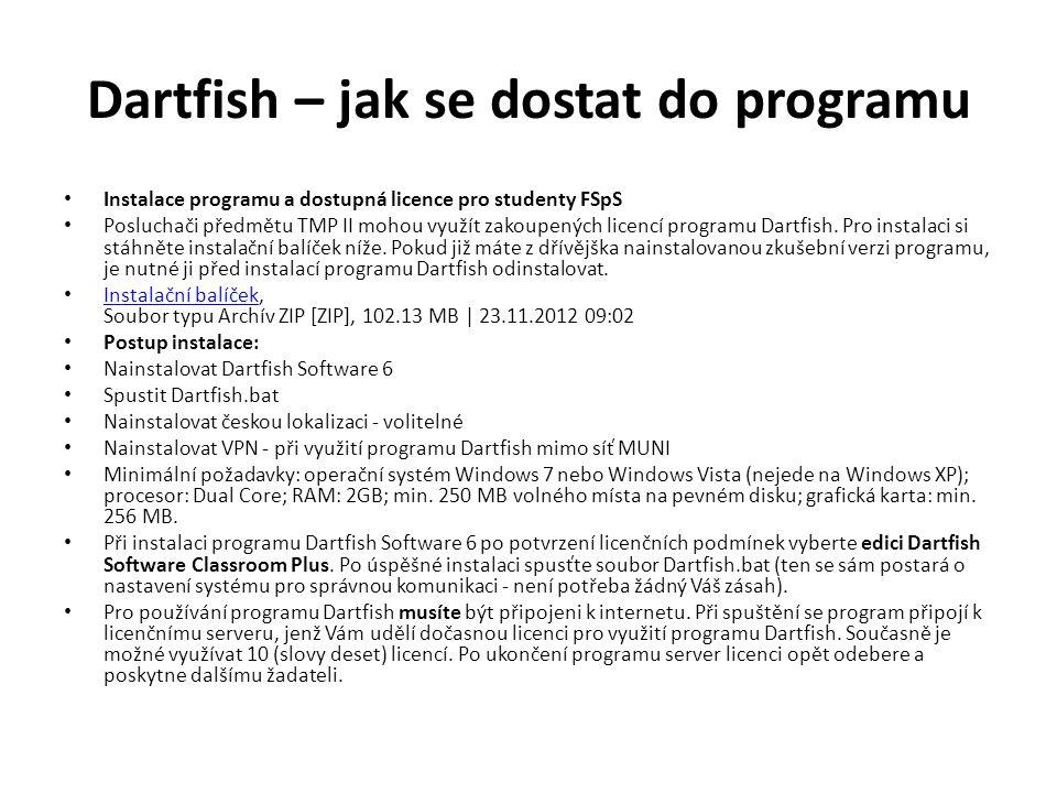 Dartfish – jak se dostat do programu Instalace programu a dostupná licence pro studenty FSpS Posluchači předmětu TMP II mohou využít zakoupených licencí programu Dartfish.
