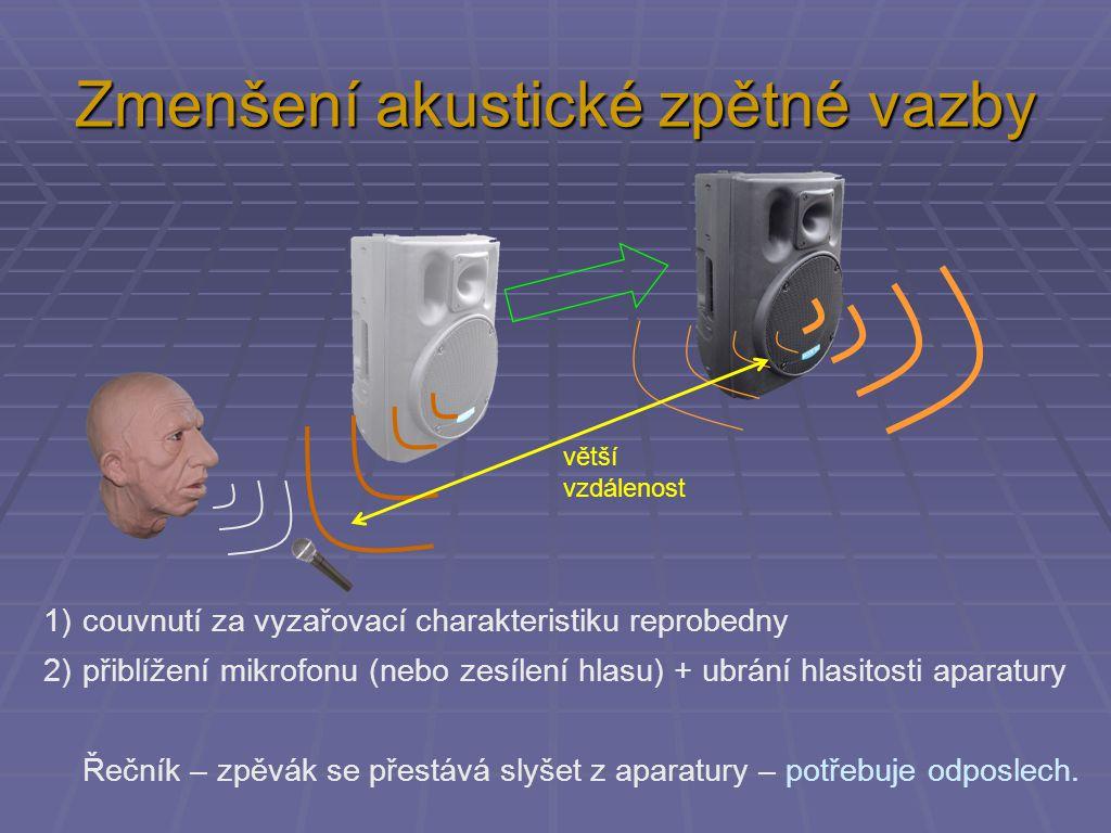 Zmenšení akustické zpětné vazby 1)couvnutí za vyzařovací charakteristiku reprobedny 2)přiblížení mikrofonu (nebo zesílení hlasu) + ubrání hlasitosti aparatury Řečník – zpěvák se přestává slyšet z aparatury – potřebuje odposlech.