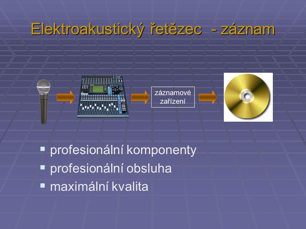 Elektroakustický řetězec - záznam záznamové zařízení  profesionální komponenty  profesionální obsluha  maximální kvalita