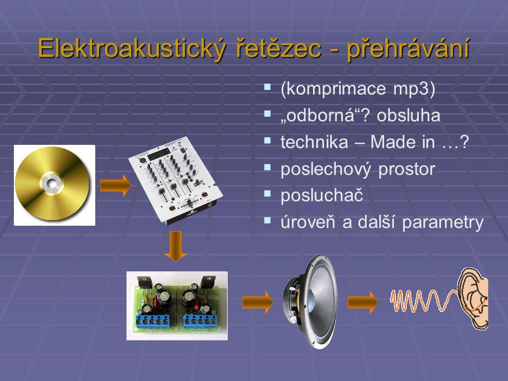 """Elektroakustický řetězec - přehrávání  (komprimace mp3)  """"odborná""""? obsluha  technika – Made in …?  poslechový prostor  posluchač  úroveň a dalš"""