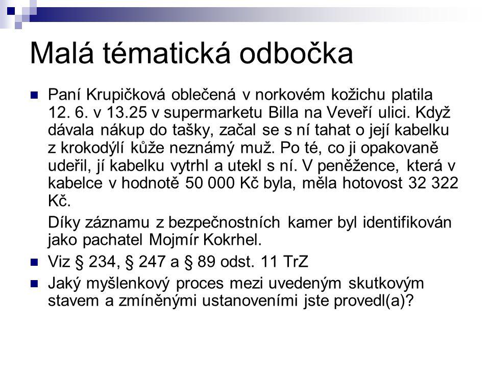 Malá tématická odbočka Paní Krupičková oblečená v norkovém kožichu platila 12. 6. v 13.25 v supermarketu Billa na Veveří ulici. Když dávala nákup do t