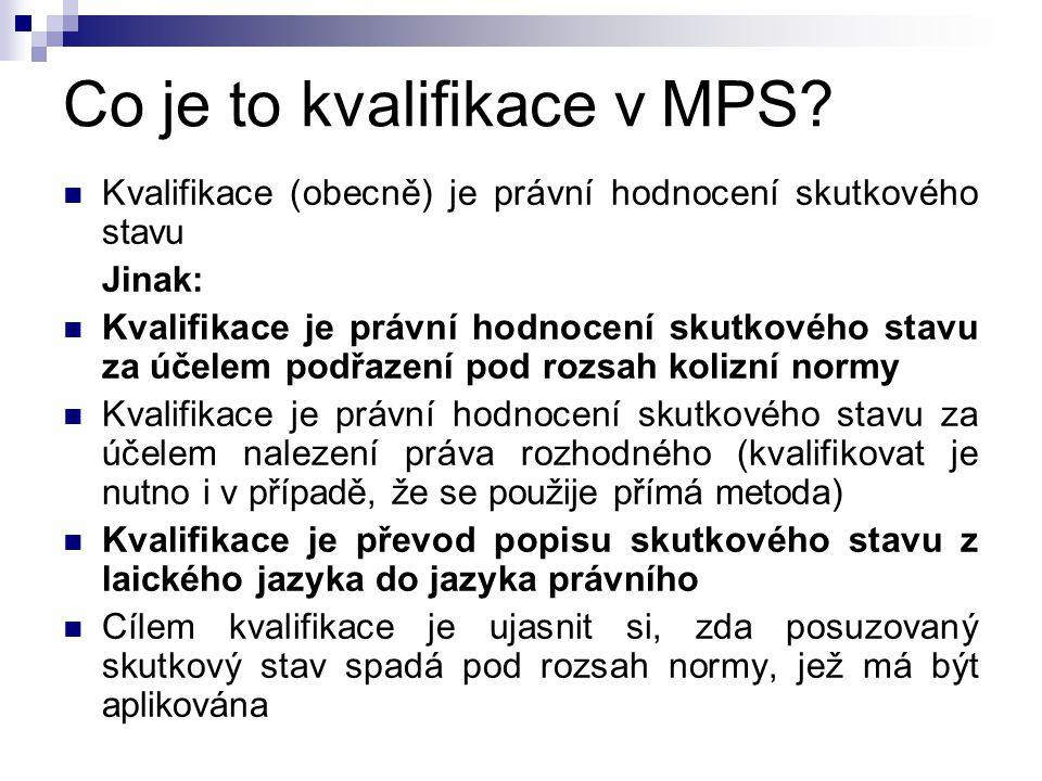 Co je to kvalifikace v MPS? Kvalifikace (obecně) je právní hodnocení skutkového stavu Jinak: Kvalifikace je právní hodnocení skutkového stavu za účele