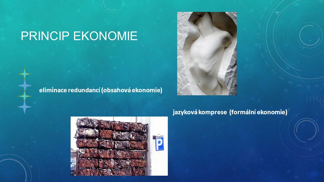 PRINCIP EKONOMIE eliminace redundancí (obsahová ekonomie) jazyková komprese (formální ekonomie)