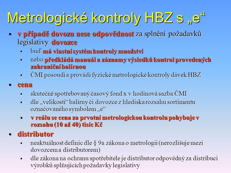 """Metrologické kontroly HBZ s """"e""""  """"oznamovací povinnost""""  metrologickou kontrolu HBZ provádí ČMI  posoudí systém kontroly správnosti množství v bale"""