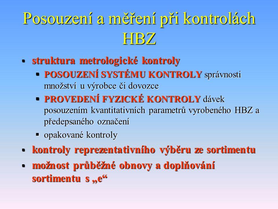 Metrologické kontroly HBZ  podrobná metodika obecného postupu při vydání osvědčení ČMI a s ním souvisejících činnostech  speciální podrobné metodiky