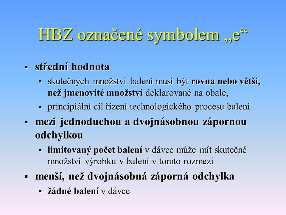 """HBZ označené symbolem """"e  střední hodnota  skutečných množství balení musí být rovna nebo větší, než jmenovité množství deklarované na obale,  principiální cíl řízení technologického procesu balení  mezi jednoduchou a dvojnásobnou zápornou odchylkou  limitovaný počet balení v dávce může mít skutečné množství výrobku v balení v tomto rozmezí  menší, než dvojnásobná záporná odchylka  žádné balení v dávce"""