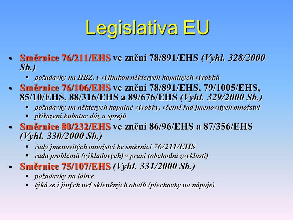 Legislativa EU  Směrnice 76/211/EHS ve znění 78/891/EHS (Vyhl.